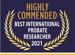 Image of Highly Commended International Probate Researcher 2021
